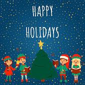 Santa Claus elf kids cartoon elf helpers vector illustration children elves characters traditional costume. Family christmas kid holiday santa claus elf people background.