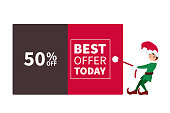 Santa claus elf pulling promotion and discount poster for christmas