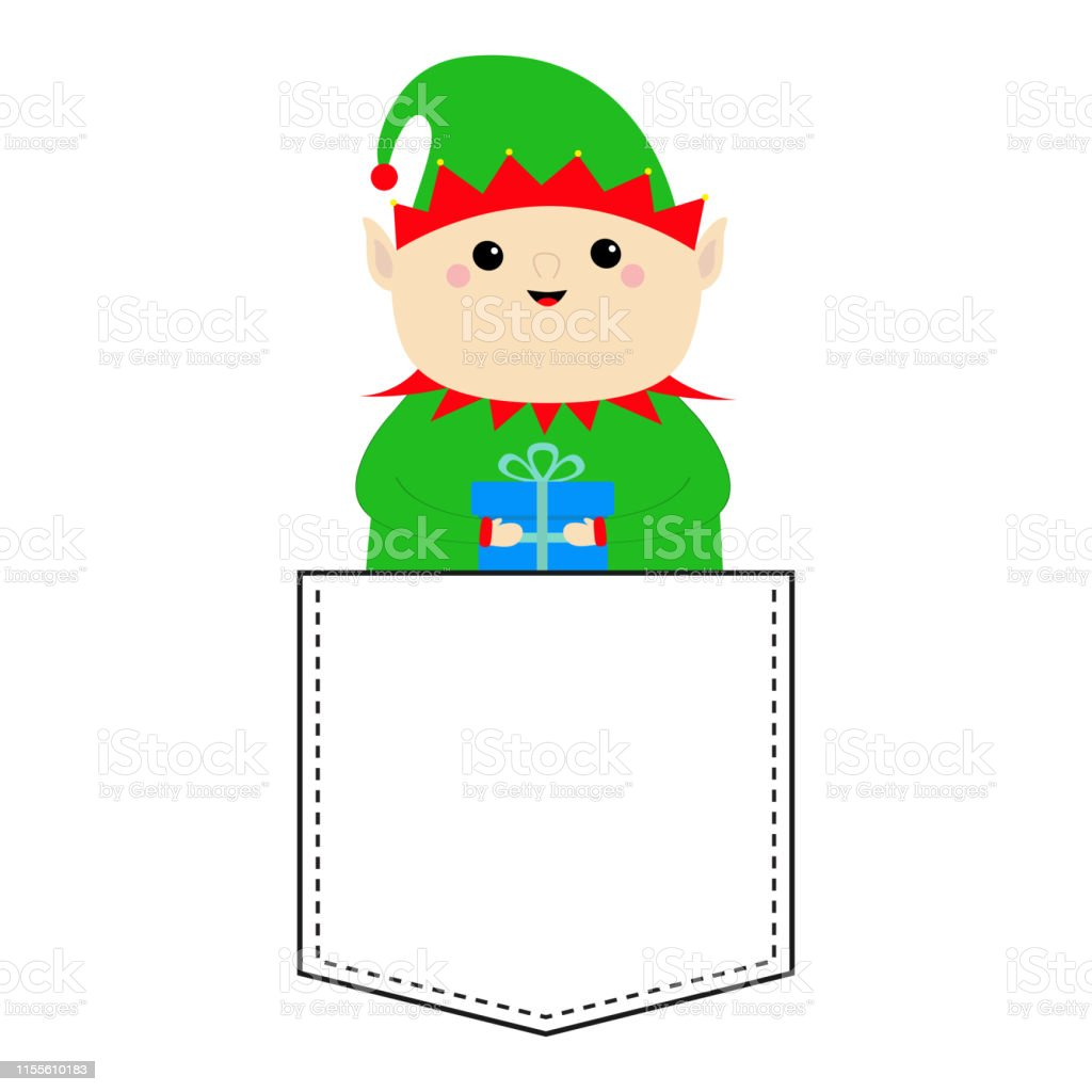 Santa Claus Elf Rond Tête Tenant Boîte Cadeau Chapeau Vert