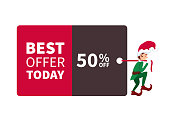 Santa claus elf walking with promotion sign and discount for christmas