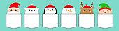 Santa Claus Elf White bear Snowman Raindeer Deer Penguin bird face icon set. T-shirt pocket. New Year. Merry Christmas. Cute cartoon funny kawaii baby character. Flat design Blue background.