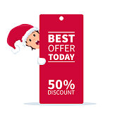 Santa claus elf with promotion sign and discount for christmas