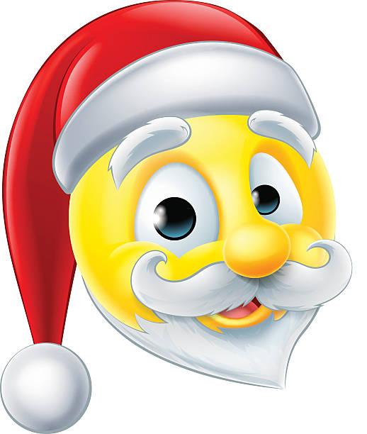 santa claus emoji emoticon vector art illustration - Christmas Smiley Faces