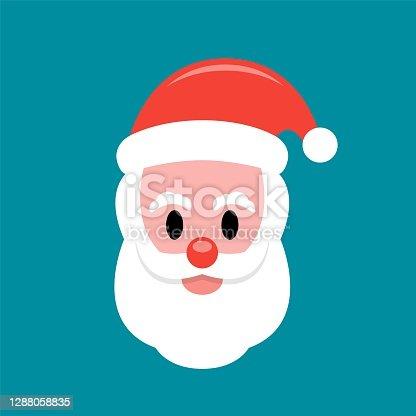 istock Santa Claus face flat icon 1288058835