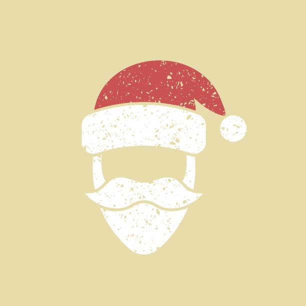 Santa Claus face icon Santa Claus hat and beard template. Christmas Retro Card santa hat stock illustrations
