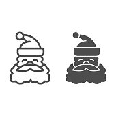 Santa Claus face line and solid icon, Christmas concept, Christmas and New Year symbol on white background, Santa Claus with beard and mustache in hat icon in outline style. Vector graphics