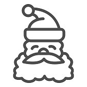 Santa Claus face line icon, Christmas concept, Christmas and New Year symbol on white background, Santa Claus with beard and mustache in hat icon in outline style. Vector graphics