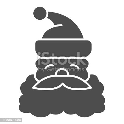 Santa Claus face solid icon, Christmas concept, Christmas and New Year symbol on white background, Santa Claus with beard and mustache in hat icon in glyph style. Vector graphics