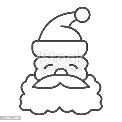 Santa Claus face thin line icon, Christmas concept, Christmas and New Year symbol on white background, Santa Claus with beard and mustache in hat icon in outline style. Vector graphics