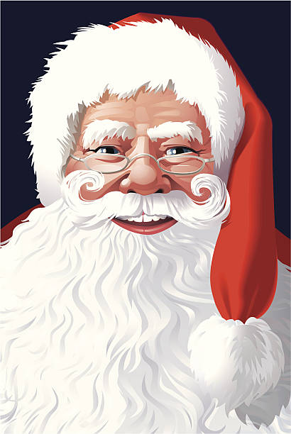 Santa Claus Face with Santa-Hat and Beard Vector illustration of the face of Santa Claus with copyspace in his beard. Glasses are on a separate layer and can be removed. The beard is clipped. Includes AI8-EPS. AI8, PDF and JPG (43cm high, 300 dpi) one senior man only illustrations stock illustrations