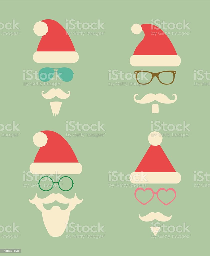 Santa Claus Fashion Silhouette Hipster Style Icons vector art illustration