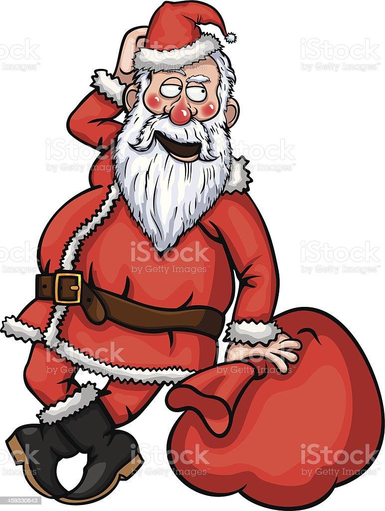 Santa Claus Flirting vector art illustration