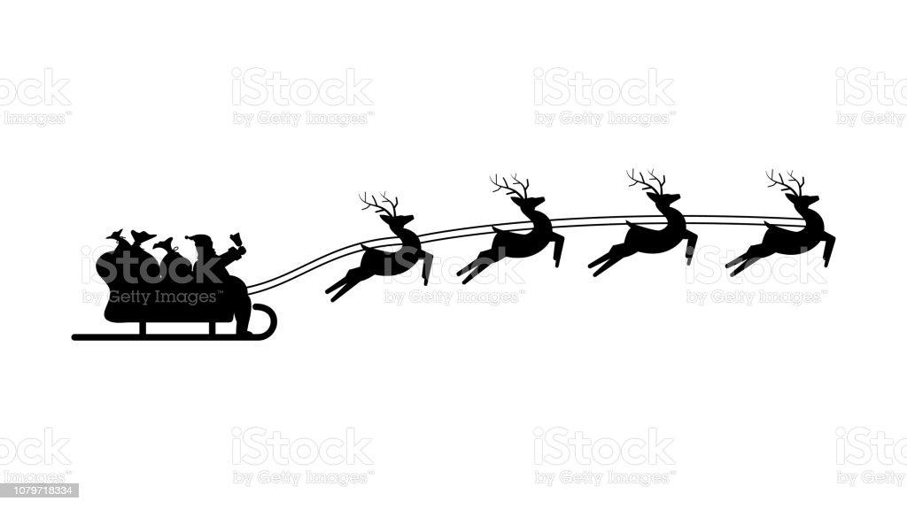 Père Noël En Traîneau Harnaché Avec Trois Rennes Symbole De