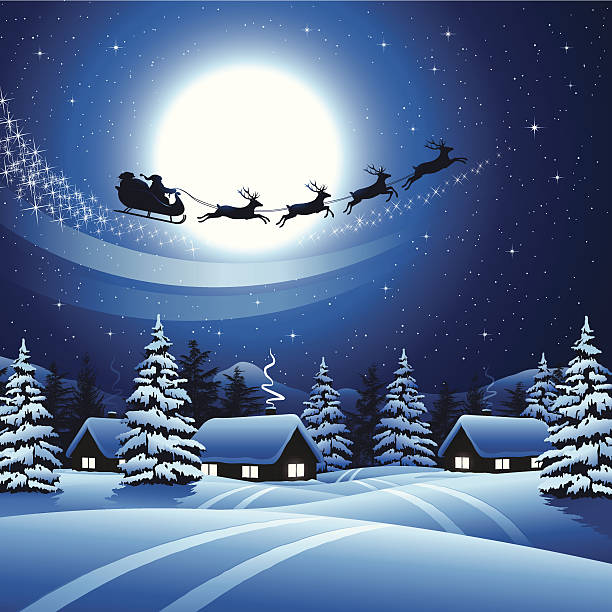 Best Silhouette Of Santa In His Sleigh Illustrations ...