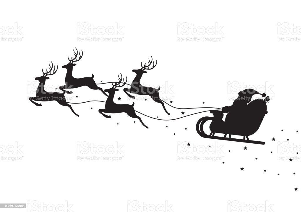 Santa Claus fliegen auf einem Schlitten mit Rentieren isoliert auf weißem Hintergrund - Lizenzfrei Comic - Kunstwerk Vektorgrafik