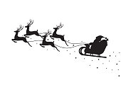 istock Santa Claus flying on a sleigh with reindeers isolated on white background 1086013382