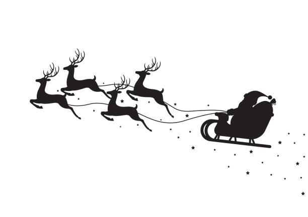 santa claus fliegen auf einem schlitten mit rentieren isoliert auf weißem hintergrund - santa stock-grafiken, -clipart, -cartoons und -symbole