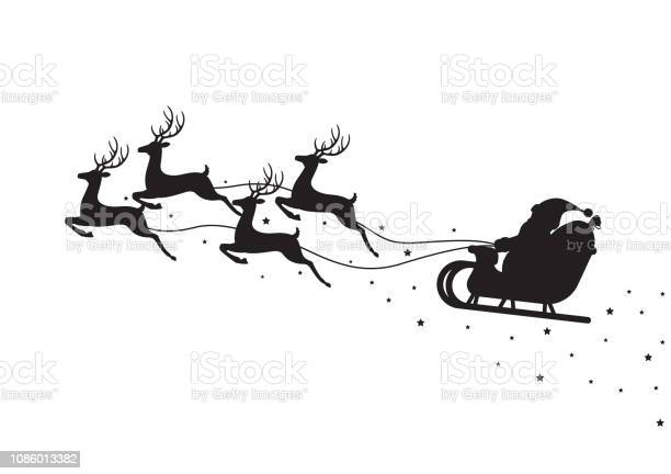 Santa Claus Flying On A Sleigh With Reindeers Isolated On White Background - Immagini vettoriali stock e altre immagini di Adulto