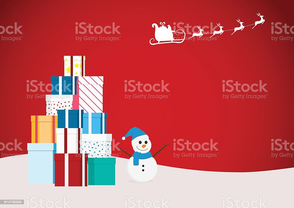 Santa claus flying reindeer sleigh with gift boxes and snowman vector art illustration