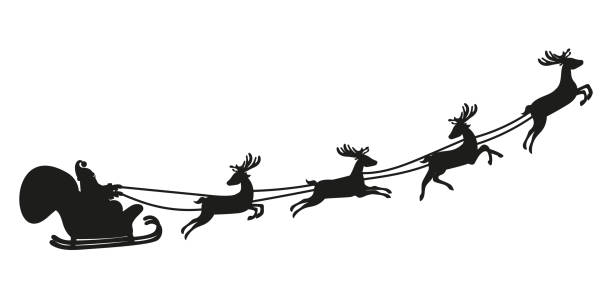 santa claus flying with deer. silhouette - reindeer stock illustrations