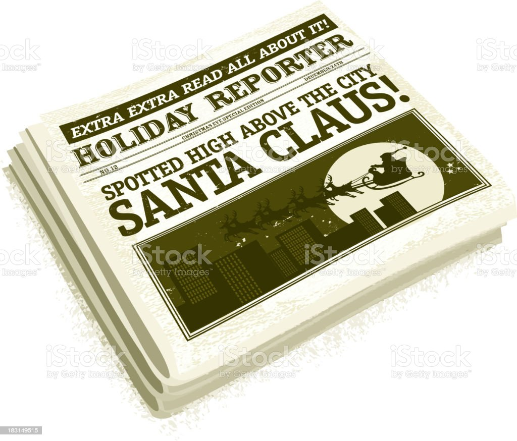 Santa Claus folded Newspaper headline design royalty-free stock vector art
