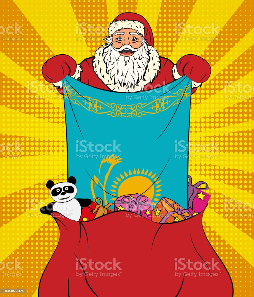 Santa Claus gets national flag of Kazakhstan out of the bag with toys in pop art style. Illustration of new year in pop art style vector art illustration