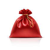 Vector Santa Claus gift bag. EPS 10 Illustration of a red gift bag.