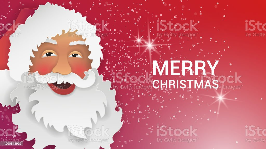 santa claus gift card in paper cut style origami merry christmas and happy new year