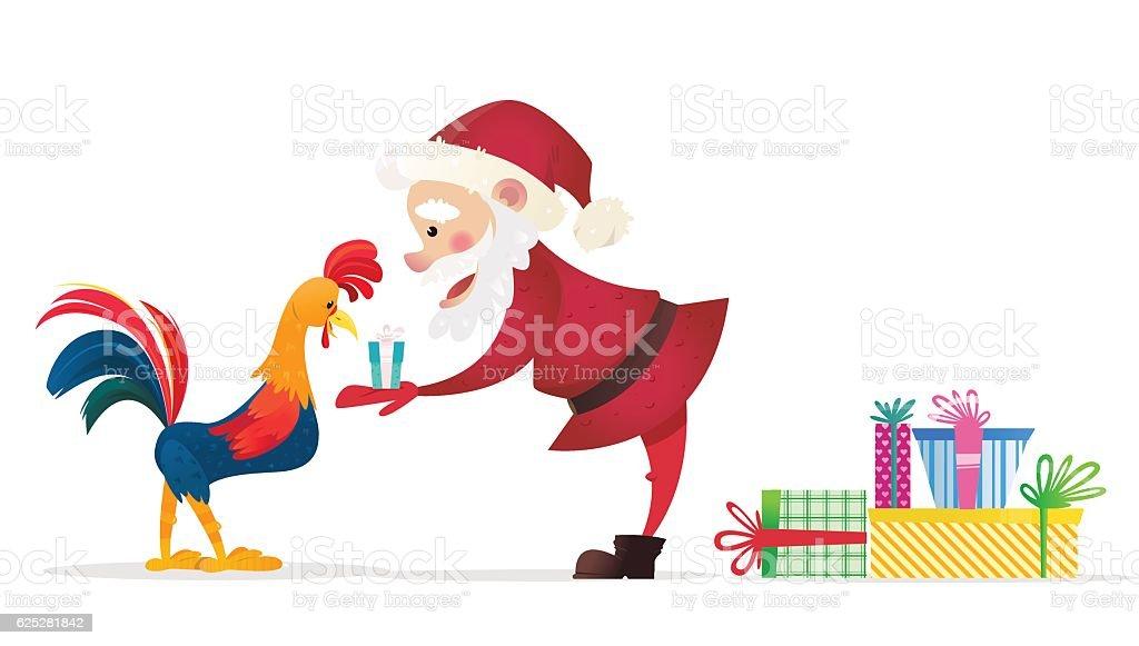 Santa Claus Gives Presents Rooster Christmas Vector
