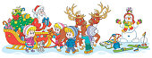 Festively decorated sleigh with magic reindeers of the old magician handing out holiday gifts to happy and merry small children, vector cartoon illustration