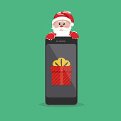 Santa Claus giving gift on phone
