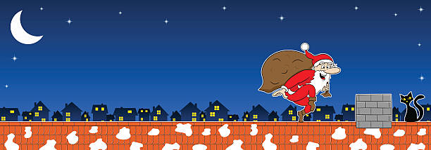 illustrazioni stock, clip art, cartoni animati e icone di tendenza di babbo natale arriva a stare in punta di piedi - santa claus tiptoeing