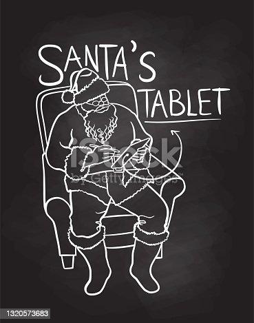 istock Santa Claus Going Digital Chalkboard 1320573683