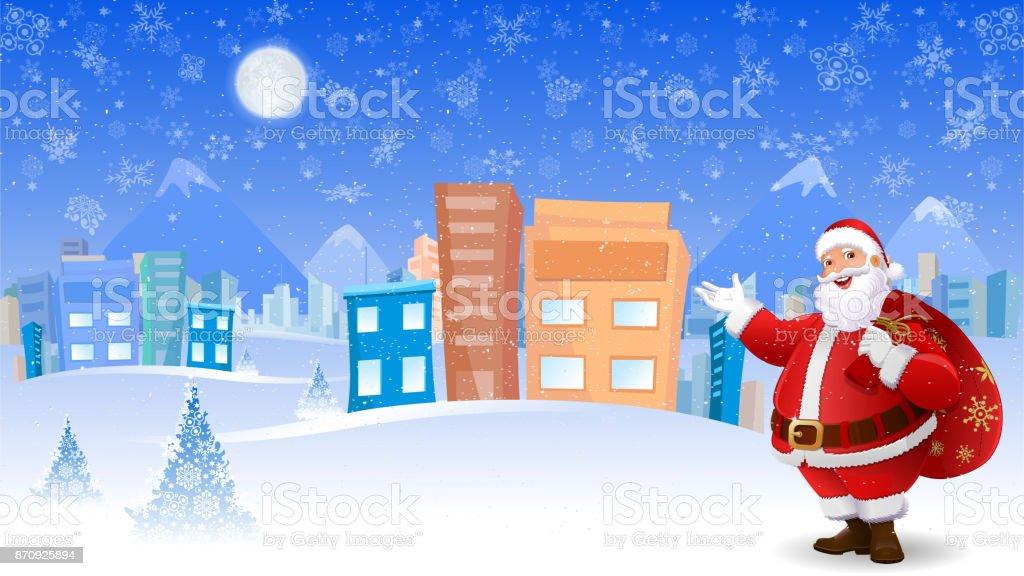 Grüße Frohe Weihnachten.Santa Claus Grüße Frohe Weihnachten Und Neujahr Stock Vektor Art Und