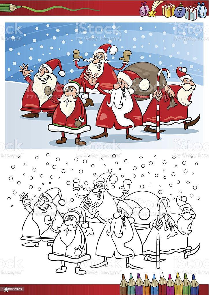 Santa Claus Grupo Página Para Colorear Illustracion Libre de ...