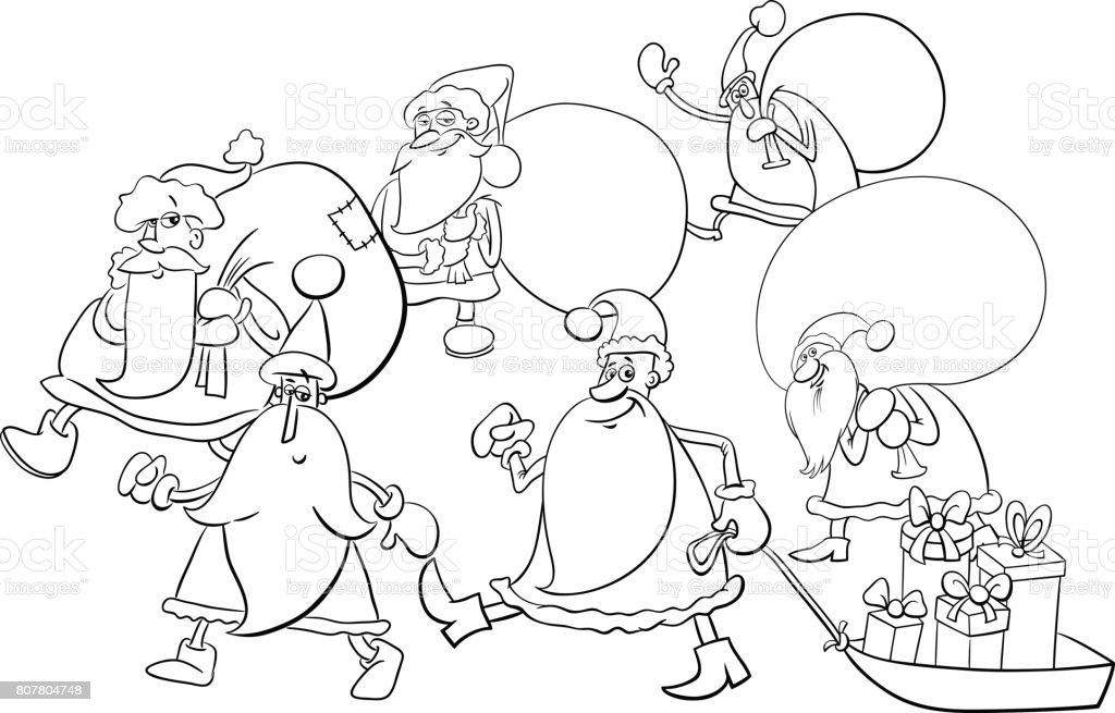 Santa Claus Grupo Página Para Colorear - Arte vectorial de stock y ...