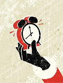 Race Against Time! A stylized vector cartoon reminiscent of an old screen print poster, of  Santa's hand holding an alarm clock, suggesting, deadlines, time keeping, time management or the night before Christmas. Hand, clock, paper texture and background are on different layers for easy editing. Please note: clipping paths have been used,  an eps version is included without the path.