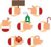 Set of Santa Claus hands.
