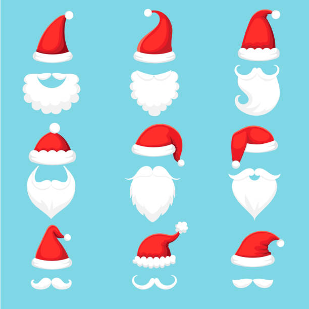 Santa Claus hat and beard. Christmas traditional red warm hats with fur, white beards with mustaches cartoon illustration vector set Santa Claus hat and beard. Christmas traditional red warm hats with fur, white beards with mustaches cap silhouette. Xmas wearing mask for mobile app. Cartoon illustration vector isolated icons set santa hat stock illustrations