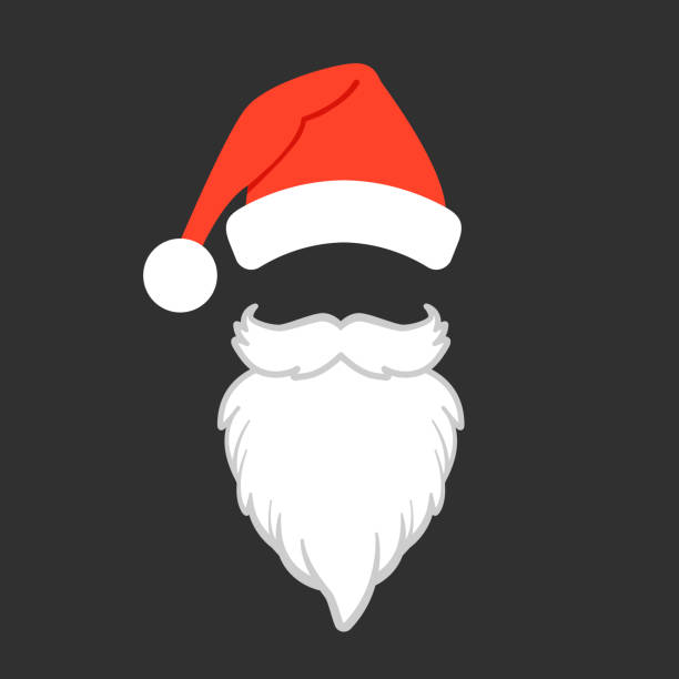 weihnachtsmann-mütze und bart. santa claus-vektor-illustration. - nikolaus stock-grafiken, -clipart, -cartoons und -symbole