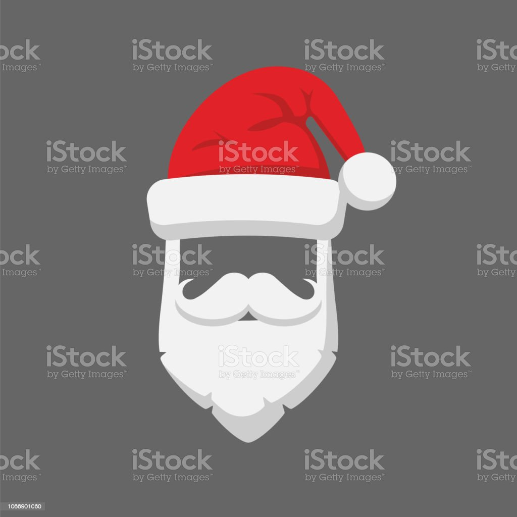 Santa Claus Hat And Beard Template Icon Isolated On White