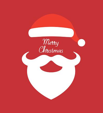 Santa Claus hat and beard- vector illustration