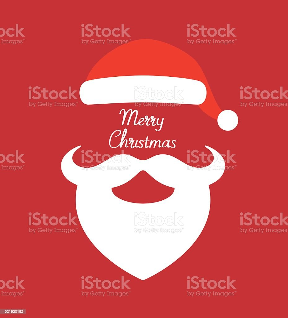 Santa Claus hat and beard- vector illustration vector art illustration