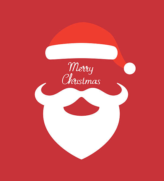 stockillustraties, clipart, cartoons en iconen met santa claus hat and beard- vector illustration - kerstmanhoed