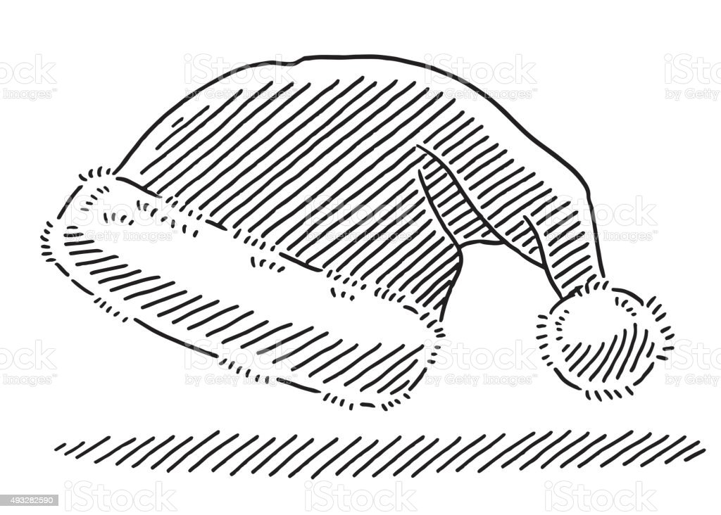 Santa Claus Hat Drawing Stock Illustration Download Image