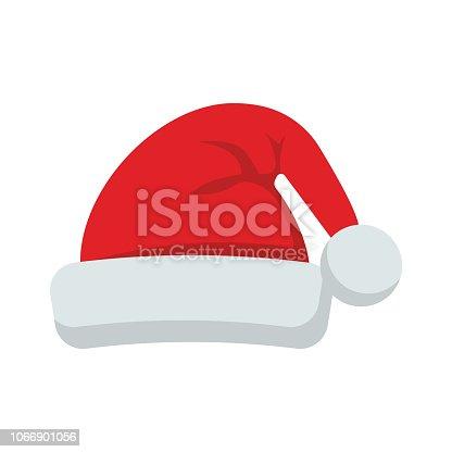 istock Santa Claus hat flat style icon. Vector illustration. 1066901056