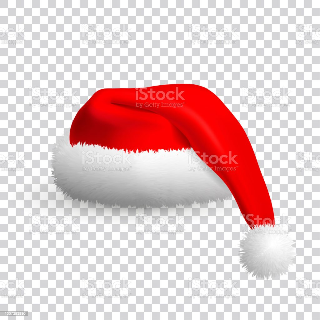 Christmas Hat Cartoon Transparent.Santa Claus Hat Isolated On Transparent Background Realistic