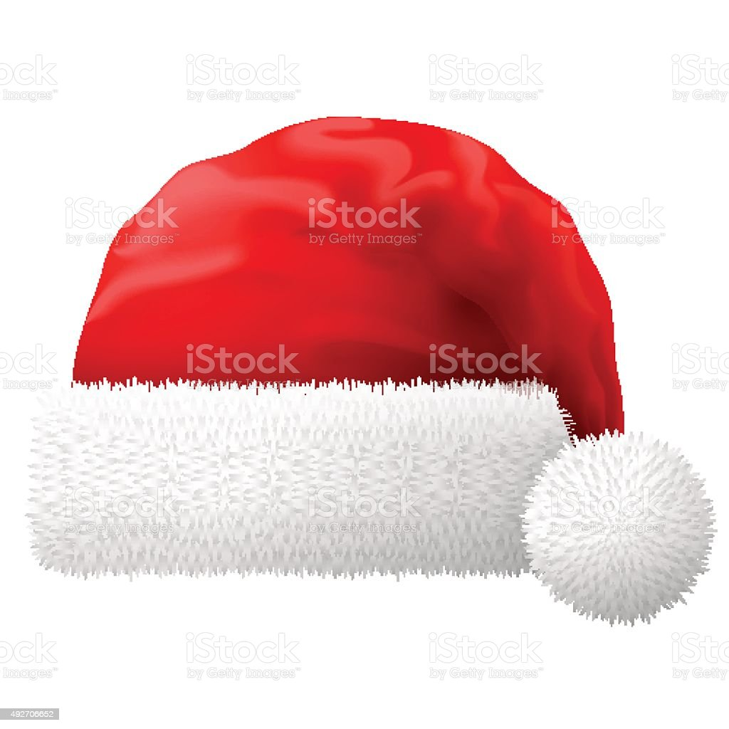 Santa Claus hat isolated on white background vector art illustration
