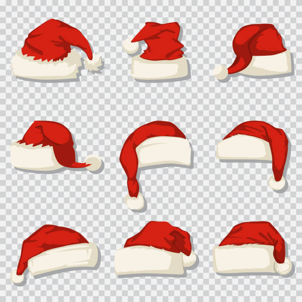 Santa Claus hat set isolated on a transparent background. Vector cartoon icons of Christmas decorative elements. Santa hat vector cartoon icons set. knit hat stock illustrations