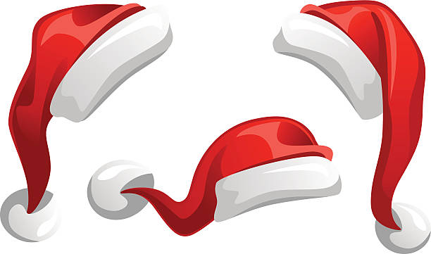 stockillustraties, clipart, cartoons en iconen met santa claus hat - kerstmanhoed